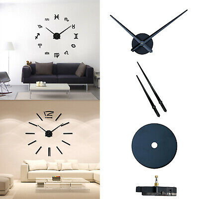 Large Silent Quartz Wall Clock Movement DIY Hands Black Mechanism Repair Tool