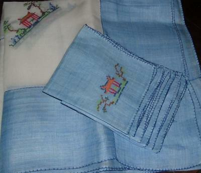 Vintage ASIAN Tablecloth & Napkins Embroidered PAGODA's Rice Linen BLUE-WHITE
