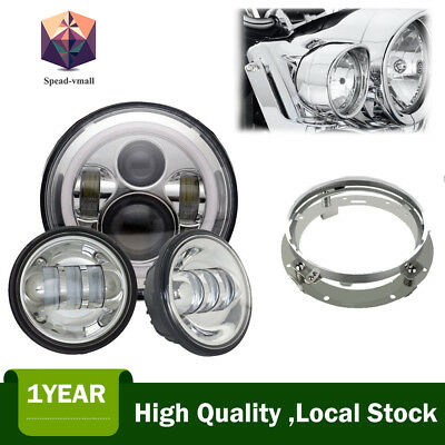 """7""""Chrome LED Projector Headlight+4.5"""" Passing Lights For Harley Touring"""