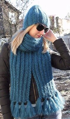 Premium Mohair SCARF hand knit Blue  Men Women Jane Rodas