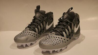 Nike Huarache V LAX Mid Lacrosse Cleats Cool Gray White Size 9 New Football