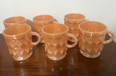 Anchor Hocking Peach Lustre Mugs Set Of 6 Fire Proof Made In USA Diamond