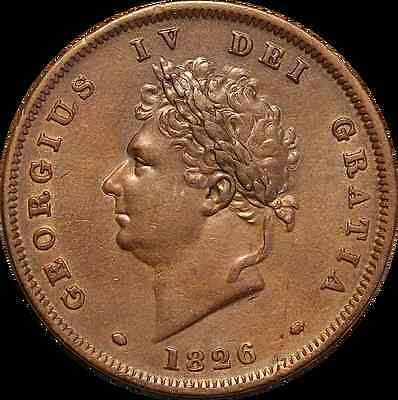 1826 George IV Copper Penny - EF/UNC