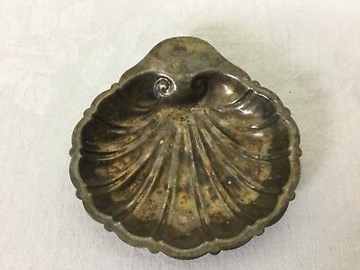 Friedman Silverplate Silver Clam Shell Candy Dish Dragon And Crest Nautical #828