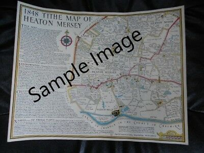 Print of 1848 Tithe Map of Heaton Mersey Stockport inc Lane End - Local History