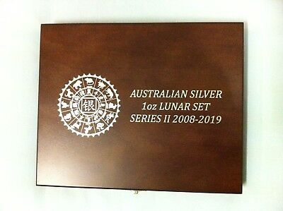 Wooden Display Box for 12 x 1oz silver coins Perth Mint Lunar Series 2