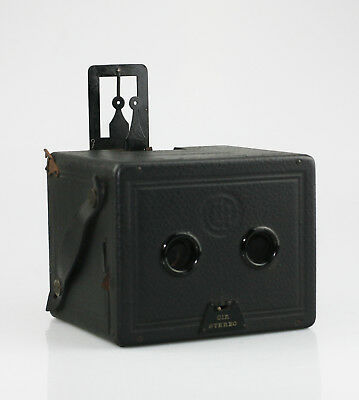 CIA Camera-Industrie Stereo Box Camera (Vienna - Austria) c.1920s w/ Case (SZ11)