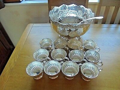 Viners Vintage Large Silver Plated Punch Bowl Ladle & 12 Cups