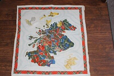 Vintage Scotland Souvenir Head Neck Scarf Tartan Regions Scottish Square