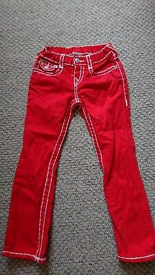 Genuine boy True Religion jeans with adjustable waist.