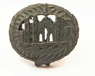 Antique Victorian Whitby jet bog oak mourning brooch Whitby Abbey hand carved 2""