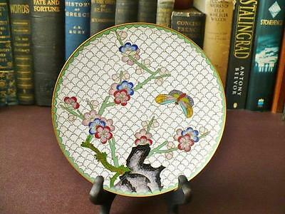 Vintage Chinese Cloisonne Cabinet/Display Plate - Butterfly & Blossom Design