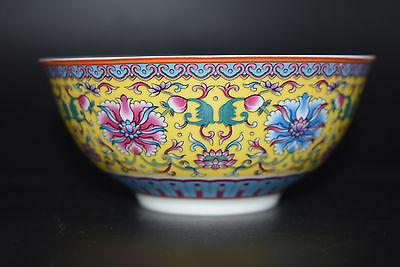 Chinese famille rose porcelain bowl of hand-painted flowers qianlong marks A
