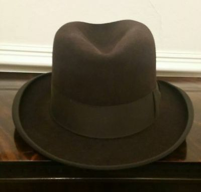 Gorgeous Vintage Brown Homburg/Fedora Hat by Dunn and Co. Fur-Felt Size 56cm