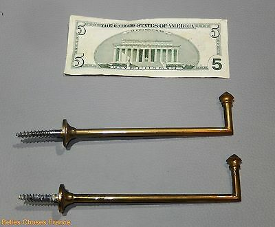 Vintage lot of 2 french gold, brass curtain tieback hooks  5.85 lenght