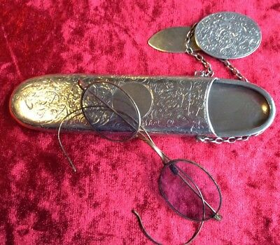 Victorian Solid Silver Chatelaine Glasses Cases And Original Glasses