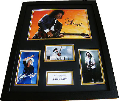 Brian May Signed & Framed Huge Rare Photo Mount Display Queen Pop/rock Proof Coa