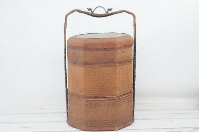 Antique Chinese 3 Tier Bamboo Wedding Food Basket Box Carved Wood Brass Handle 2