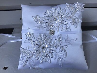 White Wedding Ring Cushion Bearer Pillow Luxury Beaded Floral Lace Glam