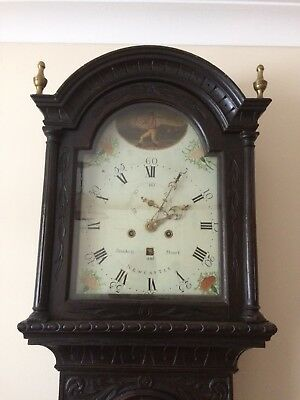 Stockell & Stuart Newcastle, Long Case Clock, Carved, Horse Racing, Gothic Early