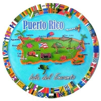 "6"" Inchs Puerto Rico Island Home Decorative Plate Wall, Table Rican Souvenir #2"