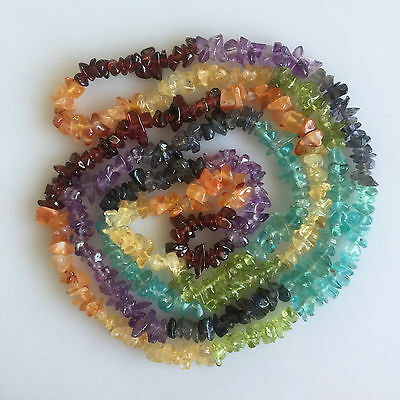 Natural Multi Color Gemstones Mix Uncut Chips Beads Loose 33Inch Drilled String