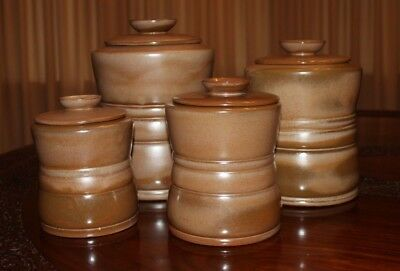 Frankoma Pottery Canister Set, Satin Brown, 4 sizes, 1970's
