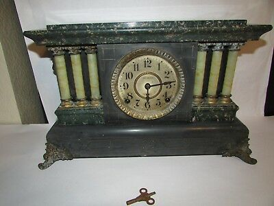 Antique Seth Thomas Adamantine Mantle Clock Six Column Brass & Copper Trim