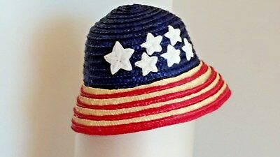 Vintage Red White Blue Girls Straw Hat Patriotic