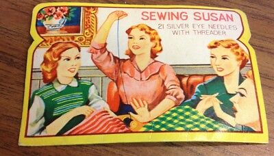 Antique Vintage 1940's - 1950's Sewing Susan Needle Book with Threader