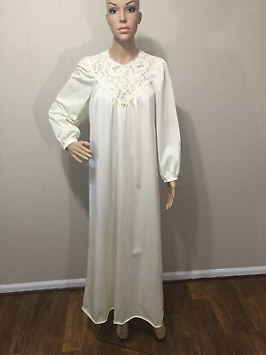 """Vanity Fair"" US Made Vintage Ivory Long Nylon/Polyester Nightgown Sz Small EUC!"