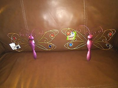 "Indoor/Outdoor Purple Metal Dragon Fly Decoration-13"" Wing Span-Set of 2"