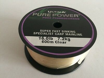 New Ultima Pure Power Fluorocarbon Carp Specialist Fishing Line Clear 16lbs