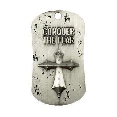 Conquer the Fear Antique Finish Dog Tag Necklace-Joshua 1:9 Shields of Strength