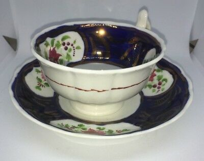Antique collectable Gaudy Welsh Tulip Pattern cup and saucer. Circa 1880s