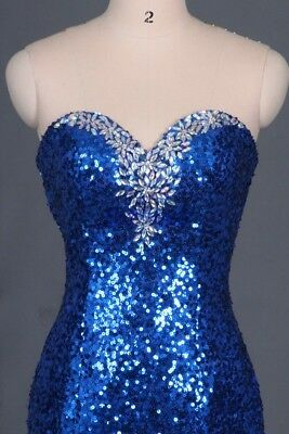 Blue Sequin Size 2 Strapless Long Mermaid Style Prom or Evenig Dress