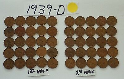 1939-D Solid Date Pennies=Roll 50 Lincoln Wheat Cents