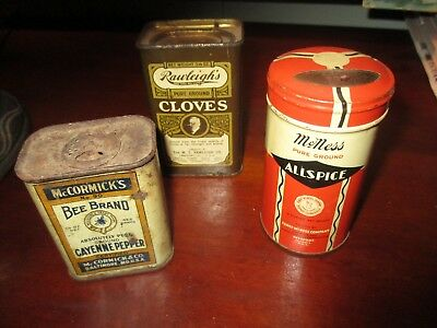 Vintage Lot 3 Spice Tins Bee Brand McCormick Rawleighs Cloves McNess  Kitchen