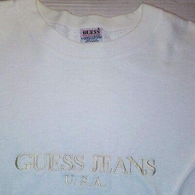 Rare Vintage GUESS JEANS USA Embroidered Crewneck Sweater-White