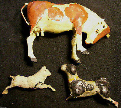 Toy Animals 1800's German Original Victorian Compo Christmas Nativity Set/3 MC