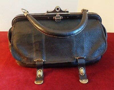 Beautiful Vintage Antique Victorian Ca. 1870 French Leather Doctor Medical Bag