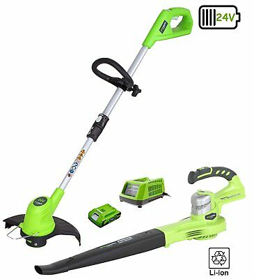 "Greenworks 24v Grass Trimmer, Blower, 2Ah Battery and Charger ""Brand New Boxed"""