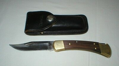 Vintage Buck Folding Hunting Knife 110 with Leather Case - Made in USA