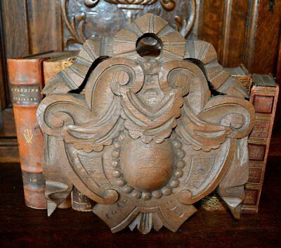 Antique French Carved Wood Pediment Ribbon Bow Crest Medallion Cartouche