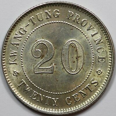 China - Kwang Tung Province 1922 Silver 20 Cents, about UNC / UNC