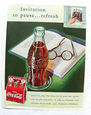 """1939,feb. Ladies Home Jrl """"invitation To Pause...refresh"""" Bottle W/ Book & Glass"""
