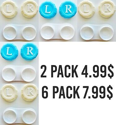 Contact Lens Case Box Holder Storage Container Kit Set Blue Solution Accessories