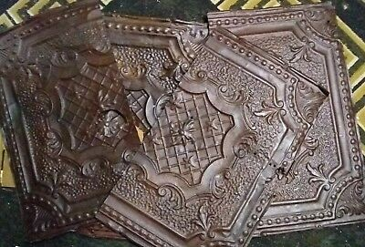 "Vintage 1920's Reclaimed 24"" x 14"" Old Metal Ceiling Tin Tiles- Lot of 4"