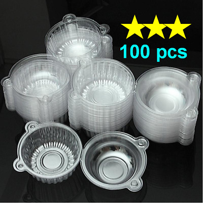 100pcs Small Clear Plastic Hinged Food Sandwich Salad Cake Round Container