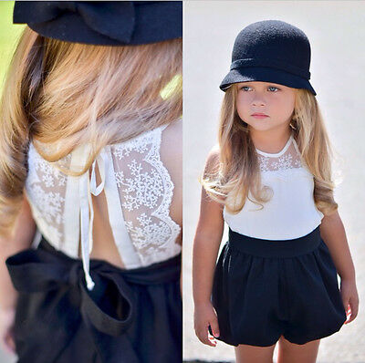 USA Kids Baby Girls Lace Top Romper Jumpsuit Short Pants Cotton Clothes Outfits